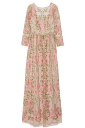 Marchesa Notte Embroidered Tulle Gown Beige