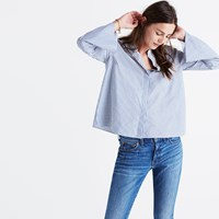 Madewell Bell Sleeve Shirt In Stripe Coastal Blue