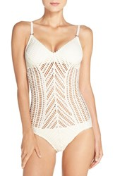 Robin Piccone Women's 'Sophia' Cutout One Piece Swimsuit Cream