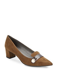 Ellen Tracy Emmie Suede And Snake Accent Pumps Olive