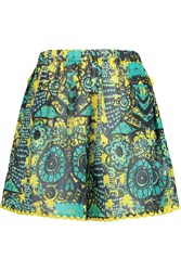M Missoni Embroidered Printed Cotton Voile Shorts Blue