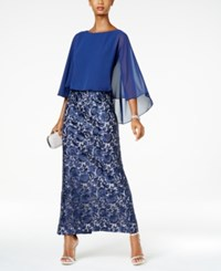 Alex Evenings Embroidered Skirt Cape Gown Navy Nude