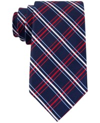 Tommy Hilfiger Men's Red Group Grid Tie Red Multi
