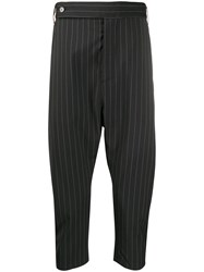 Odeur Pinstriped Drop Crotch Trousers Black