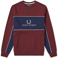 Fred Perry Panel Piped Sweat Burgundy