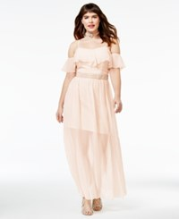 Speechless Trendy Plus Size Embellished Gown New Peach