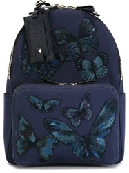 Valentino Garavani Embroidered Butterfly Backpack Blue