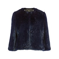 Ted Baker Cropped Faux Fur Jacket Mid Blue