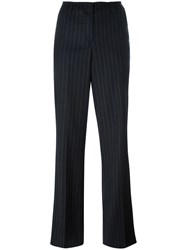 Dondup Pinstripe Straight Trousers Blue