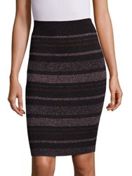 Kendall Kylie Metallic Striped Rib Knit Pencil Skirt Black Multicolor