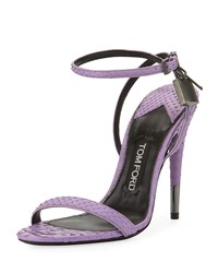 Tom Ford Python Padlock Ankle Wrap 105Mm Sandals Lilac