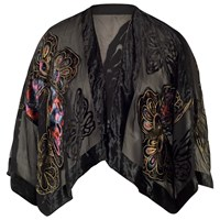 Chesca Butterfly Printed Silk Velvet Jacket Black
