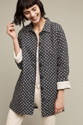 Anthropologie Dotted Linen Anorak Navy