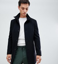 Selected Homme Wool Overcoat With Funnel Neck Black