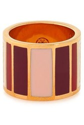 Tory Burch Geo Gold Tone Resin Ring Red