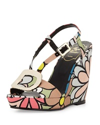 Roger Vivier Chips Flower Print Wedge Sandal Multi