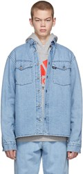 Gosha Rubchinskiy Blue Faux Fur Denim Shirt