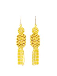 Etro Bead And Stone Embellished Tassel Earrings Yellow