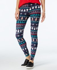 Planet Gold Juniors' Printed Holiday Leggings Navy Reindeer Snowman Tree Combo