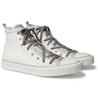 Lanvin Canvas And Velvet High Top Sneakers White