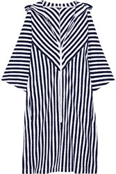Araks Margot Striped Cotton Terry Coverup Midnight Blue