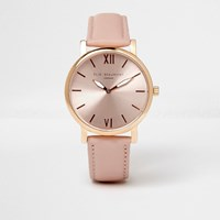 River Island Pink Elie Beaumont Leather Strap Watch
