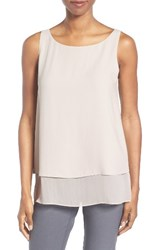 Eileen Fisher Women's Tiered Silk Georgette Tank Bone