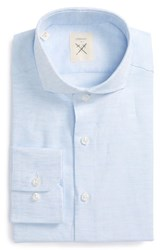 Strong Suit Men's Big And Tall Trim Fit Solid Cotton And Linen Dress Shirt Sky