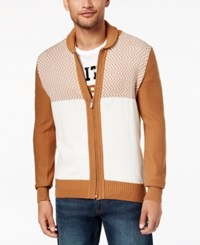 Sean John Men's Zig Zag Colorblocked Full Zip Cardigan Cream