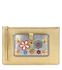 Dolce And Gabbana Exclusive To Mytheresa.Com Embellished Metallic Leather Clutch Gold