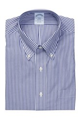 Brooks Brothers Collared Navy Stripe Long Sleeve Regent Classic Fit Shirt Blue