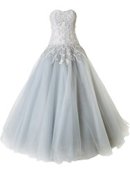 Marchesa Strapless Embellished Ball Gown Grey