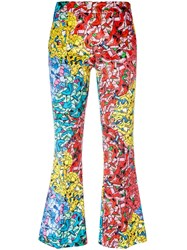 Ultrachic Printed Flared Cropped Trousers Women Cotton Spandex Elastane 42