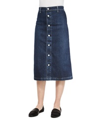 Alexa Chung For Ag Cool Button Front Denim Skirt Beet