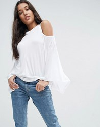 Asos Top With Cold Shoulder And Kimono Sleeve White
