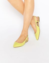 Asos Last Laugh Pointed Sling Back Ballet Flats Chartreuse Yellow