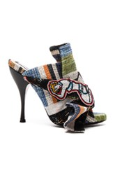 N 21 No. Bow Mules In Blue Green Stripes Blue Green Stripes