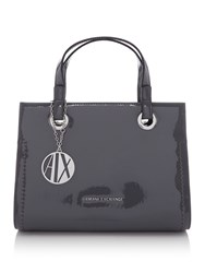 Armani Exchange Patent Small Shopper Tote Grey