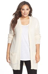 Plus Size Women's Make Model Open Knit Long Cardigan Ivory Pristine