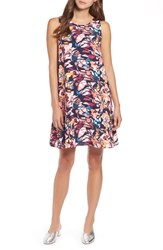Halogen A Line Dress Navy Coral Floral