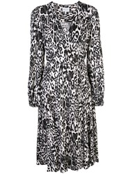 Milly Leopard Print Wrap Dress White