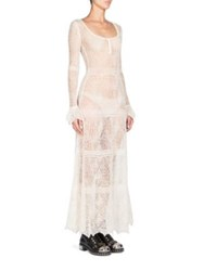 Alexander Mcqueen Crochet Lace Wool Dress Ivory