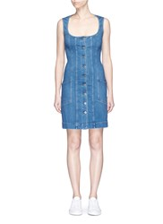 Stella Mccartney Button Front Stretch Denim Dress Blue