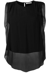 Christopher Kane Sheer Layered Sleeveless Top Black