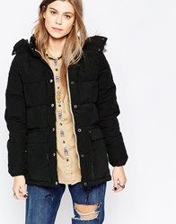 Denim And Supply Ralph Lauren Denim And Supply By Ralph Lauren Down Filled Faux Fur Trim Puffa Coat Polo Black