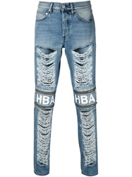 Hood By Air Distressed Zip Detail Slim Jeans Blue