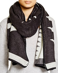 Fraas Whipstitch Tribal Wrap Scarf Black