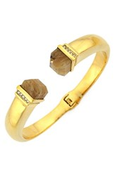 Women's Louise Et Cie Stone Tip Hinged Cuff Gold Citron Crystal