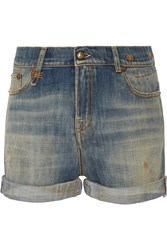 R 13 Slouch Distressed Denim Shorts Blue
