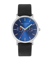 Ted Baker Brit Stainless Steel Leather Band Watch Black